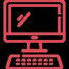 Icono ordenador rojo